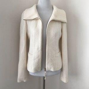 Ann Taylor Zip Up Fold Over Collar Jacket